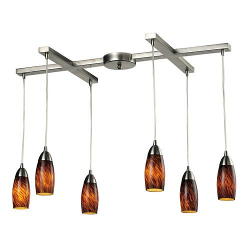 ELK Lighting 110-6ES Milan 6-Light H-Bar Pendant Fixture in Satin Nickel with Espresso Glass