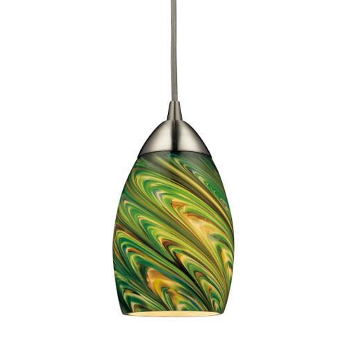 ELK Lighting 10089/1EVG Vortex 1-Light Mini Pendant in Satin Nickel with Multi-colored Glass