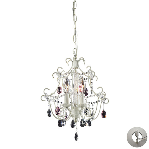 ELK Lighting 4041/3-LA Elise 3-Light Chandelier in Antique White with Crystal - Includes Adapter Kit