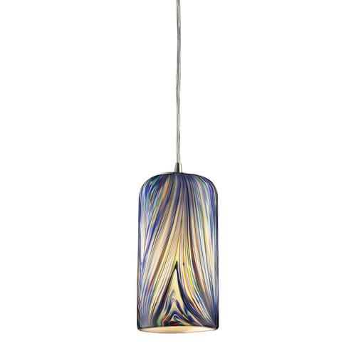ELK Lighting 544-1MO Molten 1-Light Mini Pendant in Satin Nickel with Molten Ocean Glass