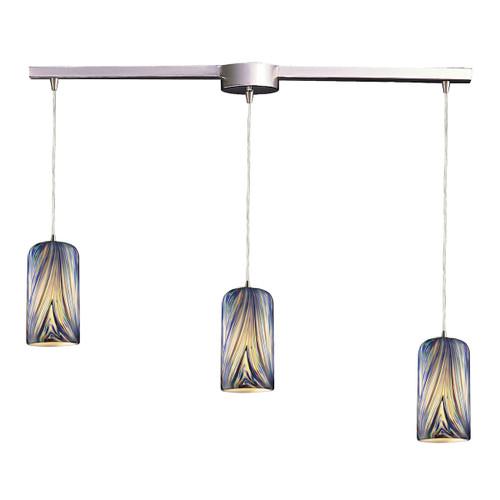 ELK Lighting 544-3L-MO Molten 3-Light Linear Pendant Fixture in Satin Nickel with Molten Ocean Glass