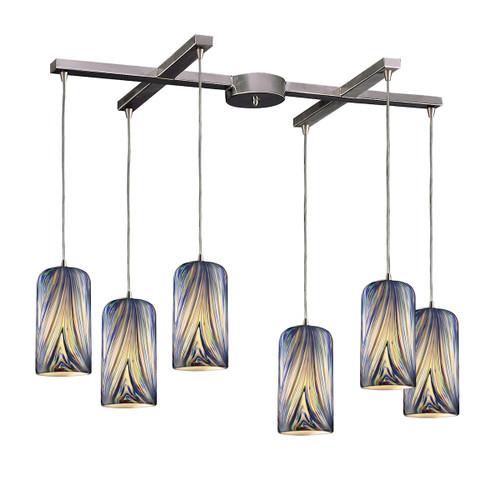 ELK Lighting 544-6MO Molten 6-Light H-Bar Pendant Fixture in Satin Nickel with Molten Ocean Glass