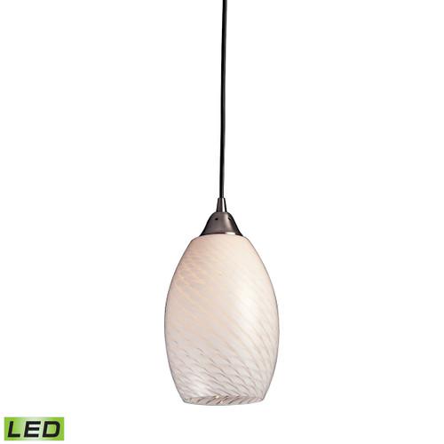 ELK Lighting 517-1WS-LED Mulinello 1-Light Mini Pendant in Satin Nickel with White Swirl Glass - Includes LED Bulb