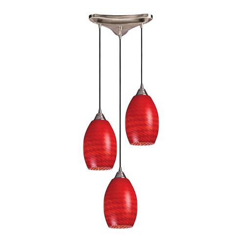 ELK Lighting 517-3SC Mulinello 3-Light Triangular Pendant Fixture in Satin Nickel with Scarlet Red Glass