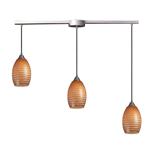 ELK Lighting 517-3L-C Mulinello 3-Light Linear Pendant Fixture in Satin Nickel with Cocoa Glass