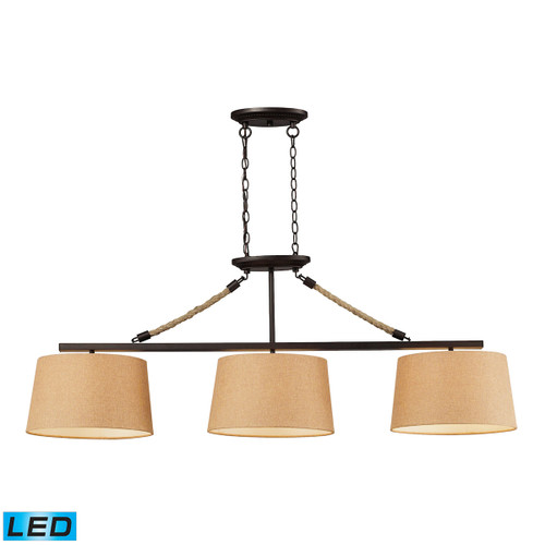 ELK Lighting 73046-3-LED Natural Rope 3-Light Island Light in Aged Bronze with Tan Linen Shades - Includes LED Bulbs