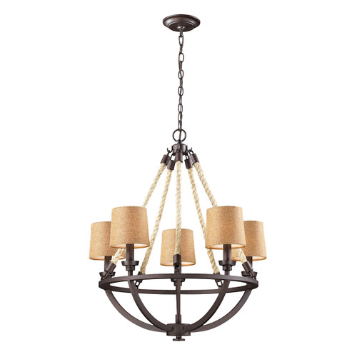 ELK Lighting 63015-5 Natural Rope 5-Light Chandelier in Aged Bronze with Tan Linen Shades