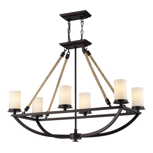 ELK Lighting 63018-6 Natural Rope 6-Light Linear Chandelier in Aged Bronze with White Glass