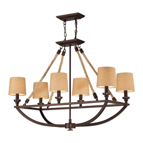 ELK Lighting 63019-6 Natural Rope 6-Light Linear Chandelier in Aged Bronze with Tan Linen Shades