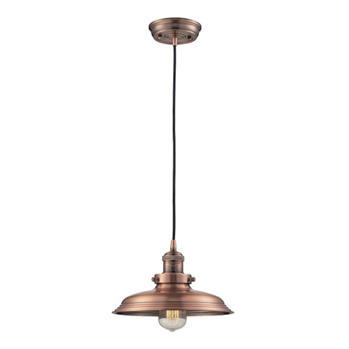 ELK Lighting 55031/1 Newberry 1-Light Mini Pendant in Antique Copper with Matching Shade
