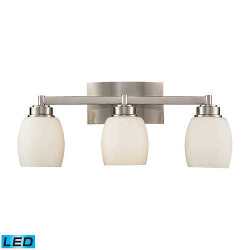 ELK Lighting 17102/3-LED Northport 3-Light Vanity Lamp in Satin Nickel with Opal Glass - Includes LED Bulbs