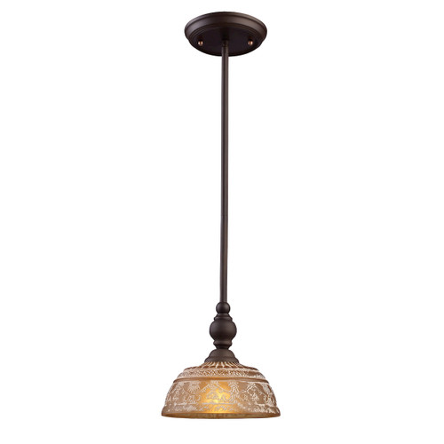 ELK Lighting 66194-1 Norwich 1-Light Mini Pendant in Oiled Bronze with Amber Glass