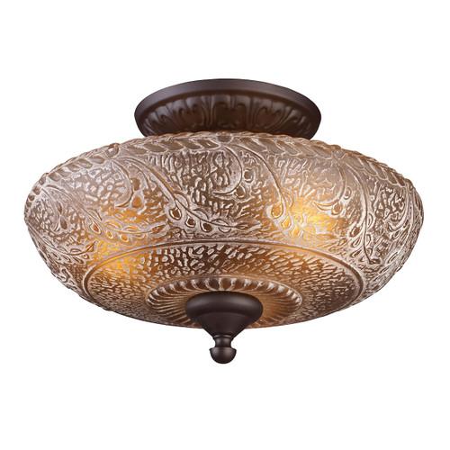 ELK Lighting 66191-3 Norwich 3-Light Semi Flush in Oiled Bronze with Amber Glass