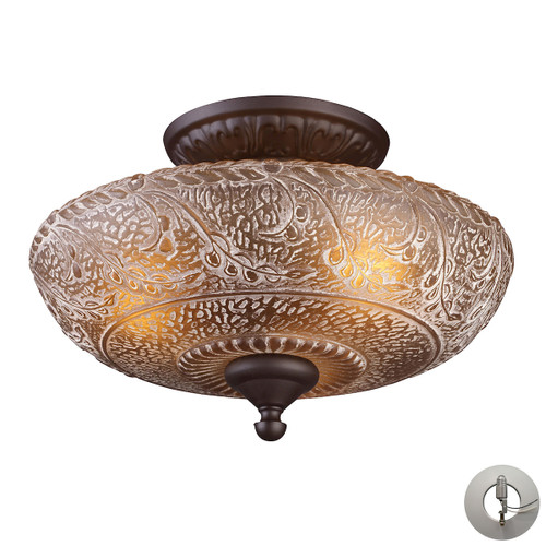 ELK Lighting 66191-3-LA Norwich 3-Light Semi Flush in Oiled Bronze with Amber Glass - Includes Adapter Kit