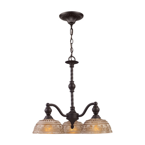 ELK Lighting 66196-3 Norwich 3-Light Chandelier in Oiled Bronze with Amber Glass
