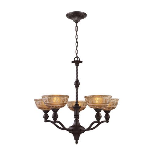 ELK Lighting 66197-5 Norwich 5-Light Chandelier in Oiled Bronze with Amber Glass