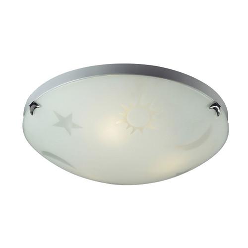 ELK Lighting 5088/3 Novelty 3-Light Flush Mount in Satin Nickel with Celestial Sky Motif on White Satin Glass
