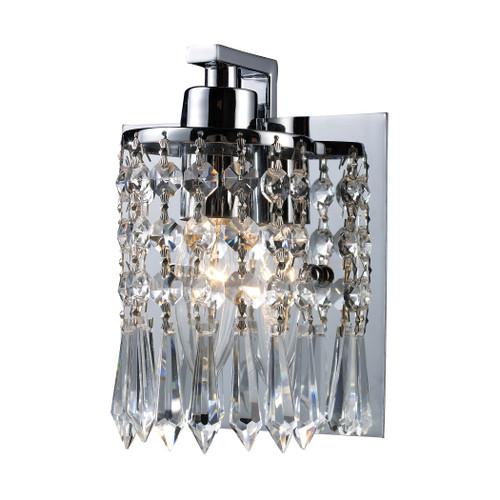 ELK Lighting 11228/1 Optix 1-Light Vanity Lamp in Polished Chrome with Clear Crystal