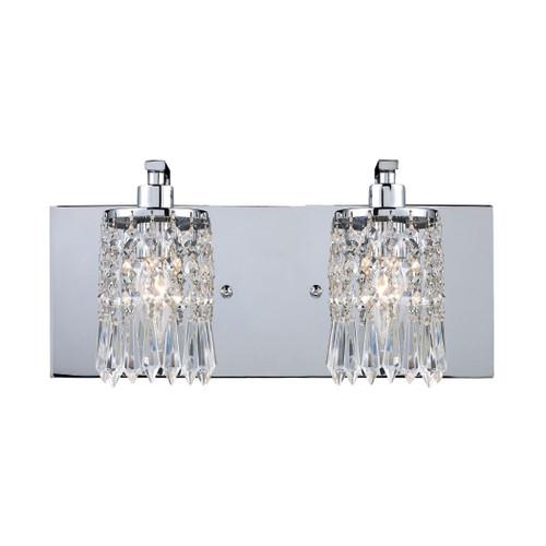 ELK Lighting 11229/2 Optix 2-Light Vanity Sconce in Polished Chrome with Clear Crystal