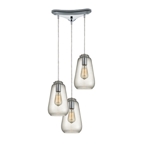ELK Lighting 10423/3 Orbital 3-Light Triangular Pendant Fixture in Polished Chrome with Clear Glass