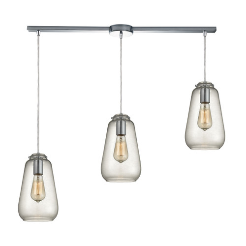 ELK Lighting 10423/3L Orbital 3-Light Linear Pendant Fixture in Polished Chrome with Clear Glass