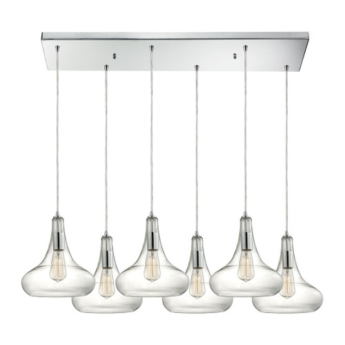ELK Lighting 10422/6RC Orbital 6-Light Rectangular Pendant Fixture in Polished Chrome with Clear Glass