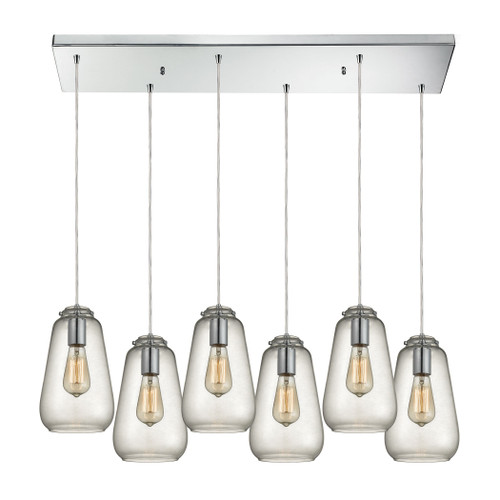ELK Lighting 10423/6RC Orbital 6-Light Rectangular Pendant Fixture in Polished Chrome with Clear Glass