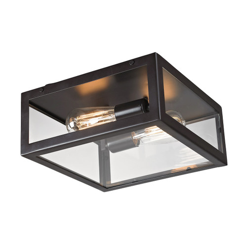 ELK Lighting 63021-2 Parameters 2-Light Flush Mount in Bronze with Clear Glass
