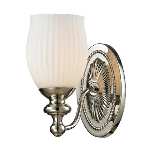 ELK Lighting 11640/1 Park Ridge 1-Light Vanity Lamp in Polished Nickel with Reeded Opal Glass