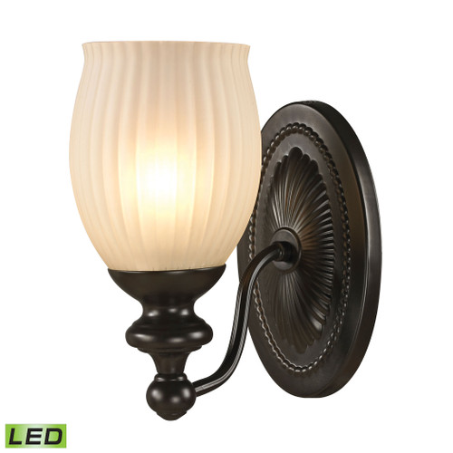 ELK Lighting 11650/1-LED Park Ridge 1-Light Vanity Lamp in Oil Rubbed Bronze with Reeded Glass - Includes LED Bulb