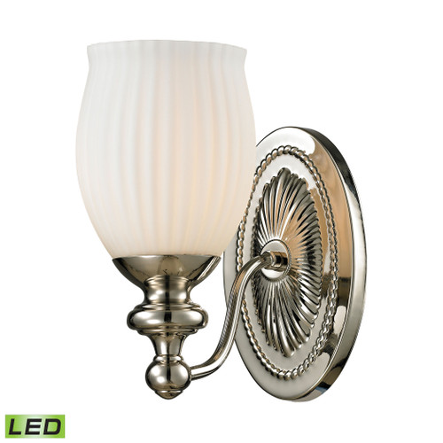 ELK Lighting 11640/1-LED Park Ridge 1-Light Vanity Lamp in Polished Nickel with Reeded Opal Glass - Includes LED Bulb