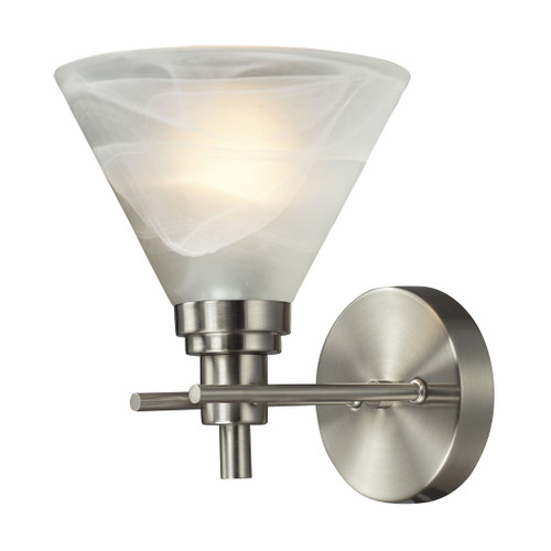 ELK Lighting 11400/1 Pemberton 1-Light Vanity Lamp in Brushed Nickel with White Marbleized Glass
