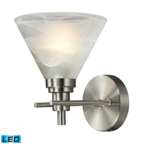 ELK Lighting 11400/1-LED Pemberton 1-Light Vanity Lamp in Brushed Nickel with White Marbleized Glass - Includes LED Bulb