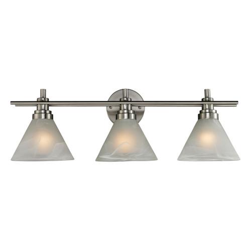 ELK Lighting 11402/3 Pemberton 3-Light Vanity Lamp in Brushed Nickel with White Marbleized Glass