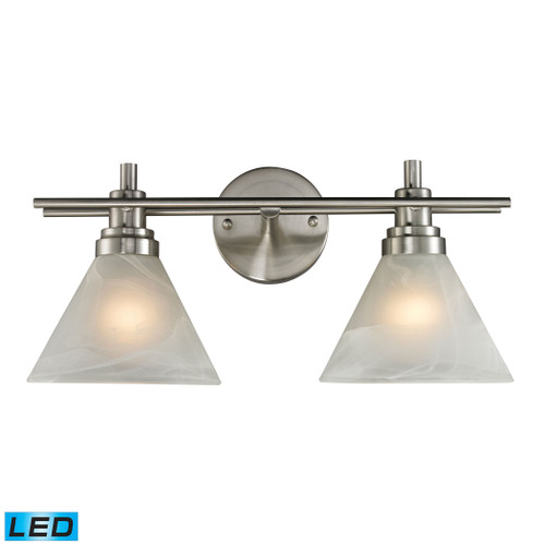 ELK Lighting 11401/2-LED Pemberton 2-Light Vanity Lamp in Brushed Nickel with White Marbleized Glass - Includes LED Bulbs