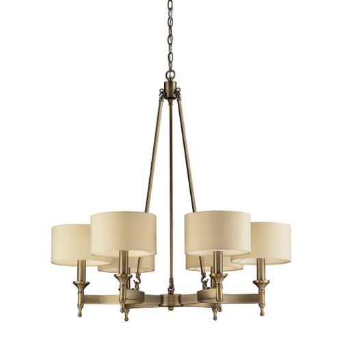 ELK Lighting 10263/6 Pembroke 6-Light Chandelier in Antique Brass with Tan Fabric Shades