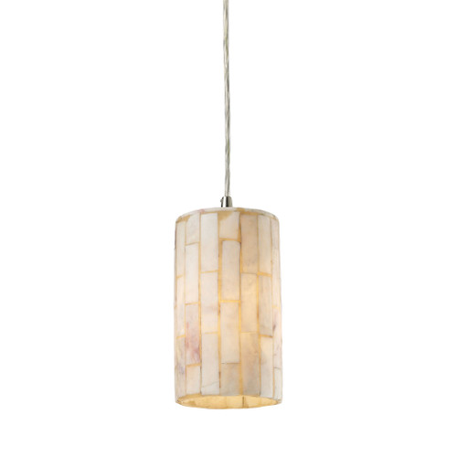 ELK Lighting 10147/1 Coletta 1-Light Mini Pendant in Satin Nickel with Genuine Stone Shade
