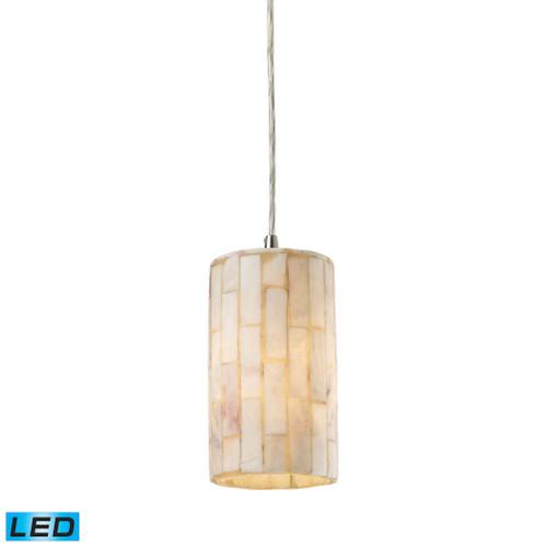 ELK Lighting 10147/1-LED Coletta 1-Light Mini Pendant in Satin Nickel with Genuine Stone Shade - Includes LED Bulb