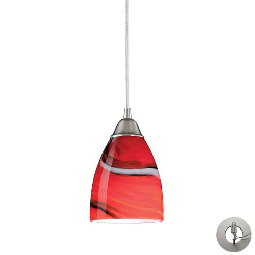 ELK Lighting 527-1CY-LA Pierra 1-Light Mini Pendant in Satin Nickel with Candy Glass - Includes Adapter Kit