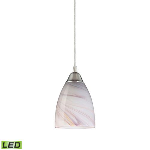 ELK Lighting 527-1CR-LED Pierra 1-Light Mini Pendant in Satin Nickel with Creme Swirl Glass - Includes LED Bulb