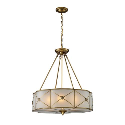 ELK Lighting 22001/6 Preston 6-Light Chandelier in Brushed Brass with White Glass Panels