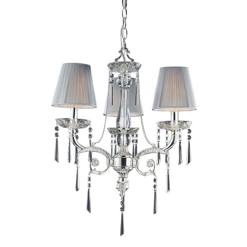 ELK Lighting 2395/3 Princess 3-Light Chandelier in Polished Silver with Fabric Shades