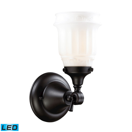 ELK Lighting 66211-1-LED Quinton Parlor 1-Light Vanity Lamp in Oiled Bronze with White Glass - Includes LED Bulb