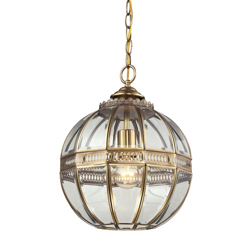 ELK Lighting 22020/1 Randolph 1-Light Mini Pendant in Brushed Brass with Clear Glass Panels