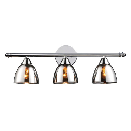 ELK Lighting 10072/3 Reflections 3-Light Vanity Sconce in Polished Chrome with Chrome-plated Glass