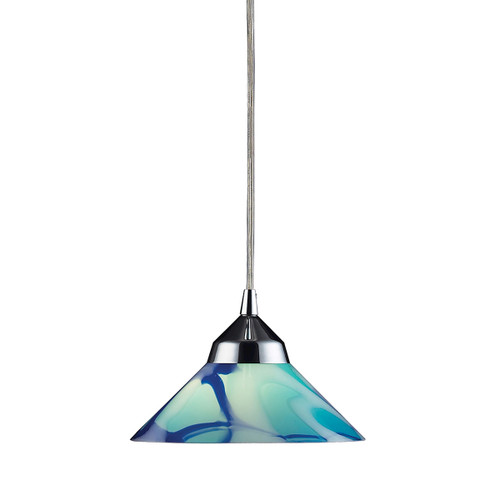 ELK Lighting 1477/1CAR Refraction 1-Light Mini Pendant in Polished Chrome with Caribbean Glass