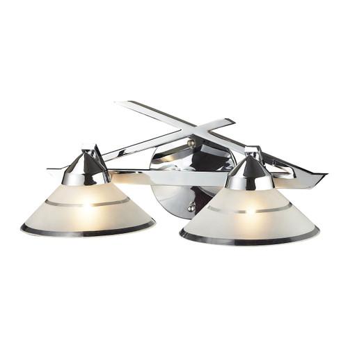 ELK Lighting 1471/2 Refraction 2-Light Vanity Lamp in Polished Chrome with Banded Satin Glass