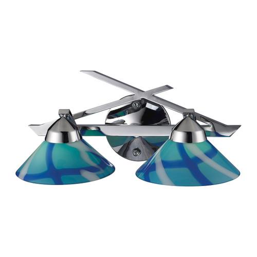 ELK Lighting 1471/2CAR Refraction 2-Light Vanity Lamp in Polished Chrome with Caribbean Glass