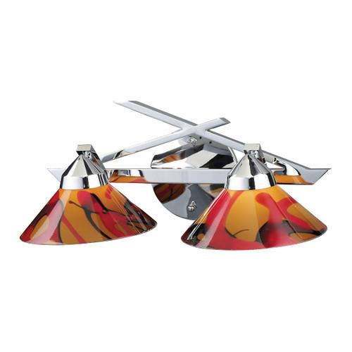 ELK Lighting 1471/2JAS Refraction 2-Light Vanity Lamp in Polished Chrome with Jasper Glass