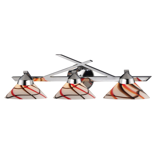 ELK Lighting 1472/3CRW Refraction 3-Light Vanity Lamp in Polished Chrome with Caramel, Red, and White Glass